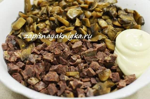 Салат из говяжье легкого рецепт с грибами