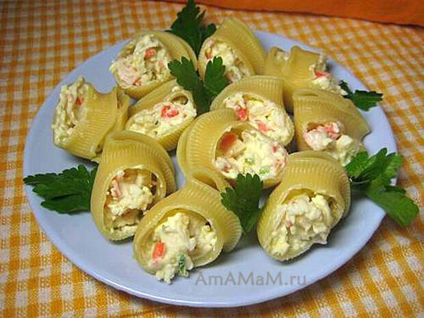 Закуска из фаршированных макаронов лумакони