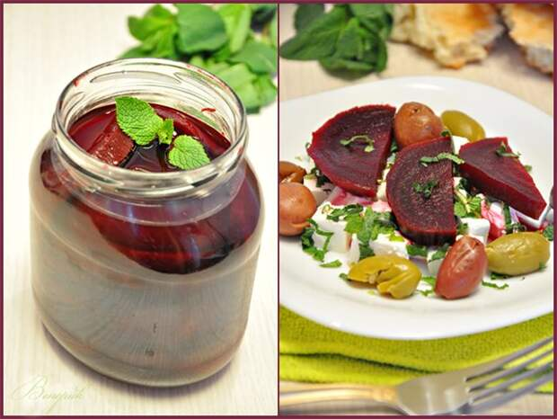 Маринованная свекла с мятой + салат из этой свеклы и сыра Фета
